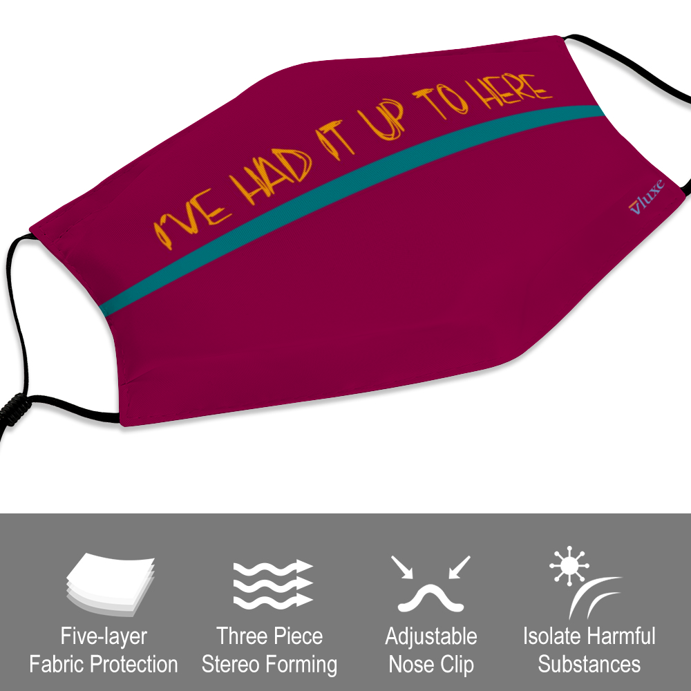 I'VE HAD IT - Raspberry Customizable Face Cover with Filter Element for Adults