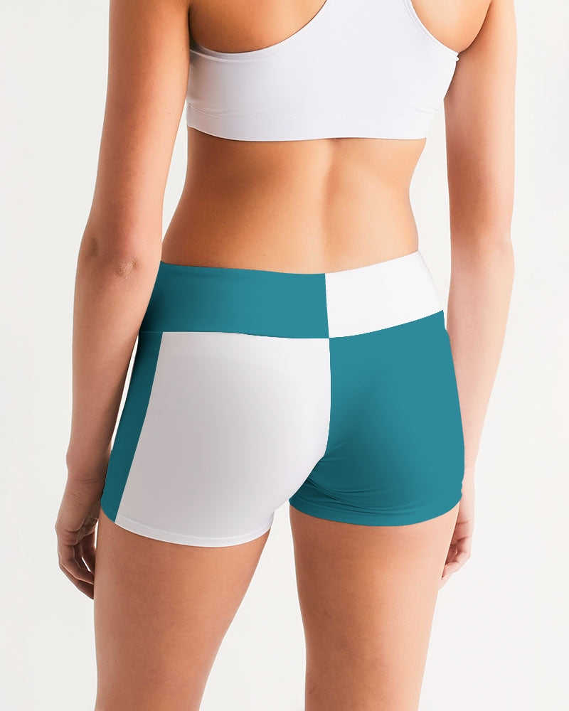 Blocks Sea Shore Blue Women's Mid-Rise Yoga Shorts