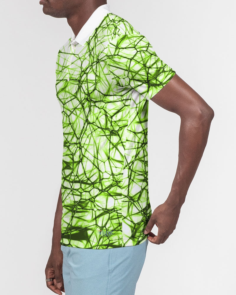 Wired Green Men's Slim Fit Short Sleeve Polo from Vluxe by Lucky Nahum