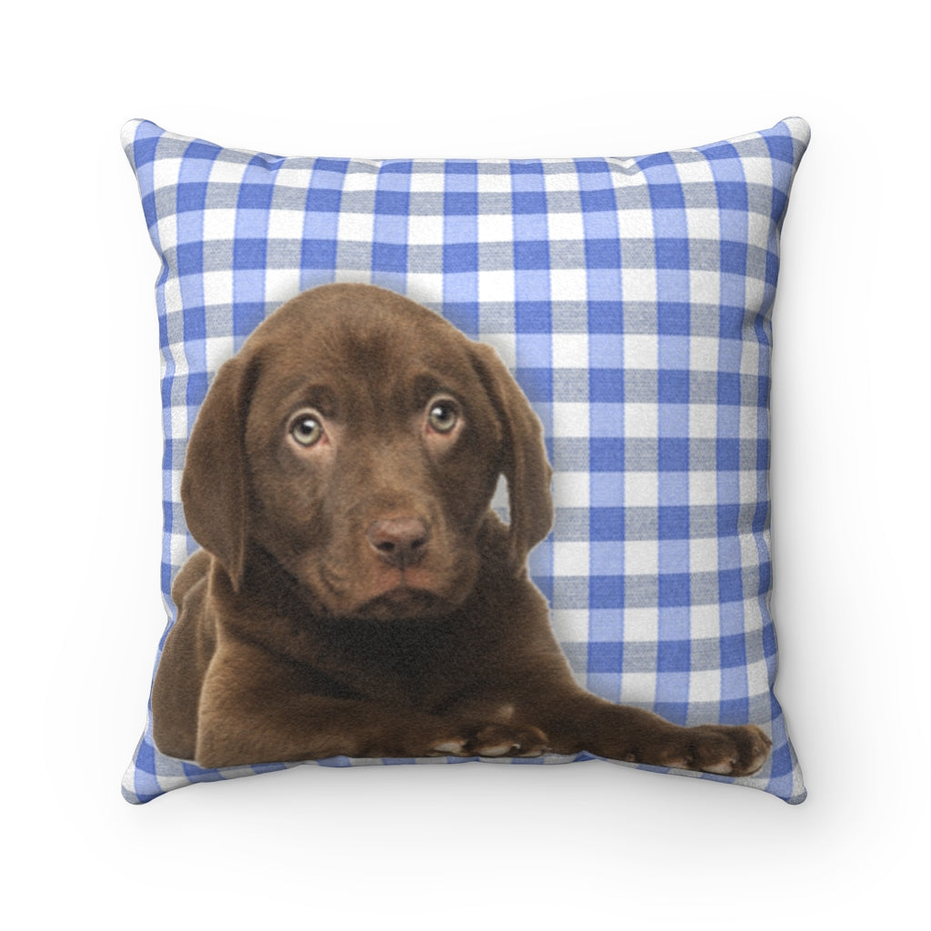 Chocolate Lab Faux Suede Square Pillow