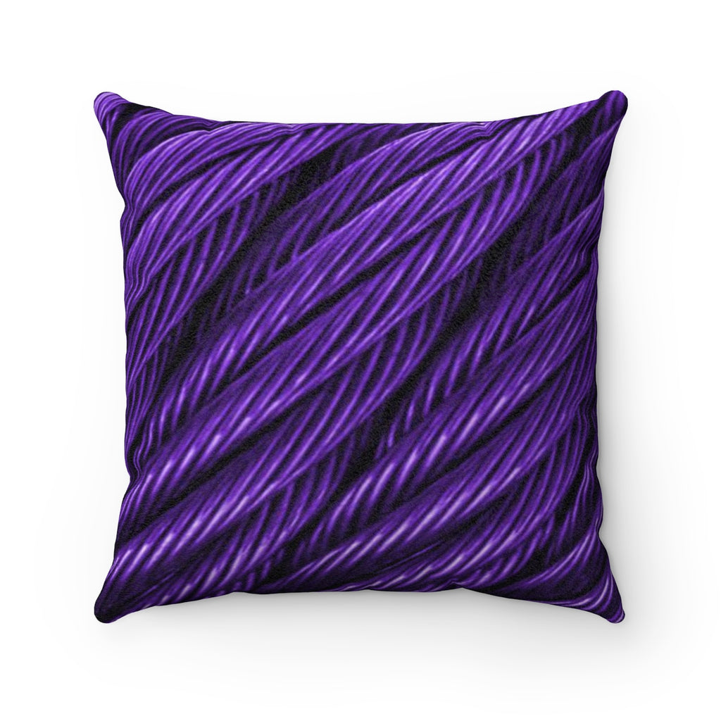 Cable Grape Faux Suede Square Pillow