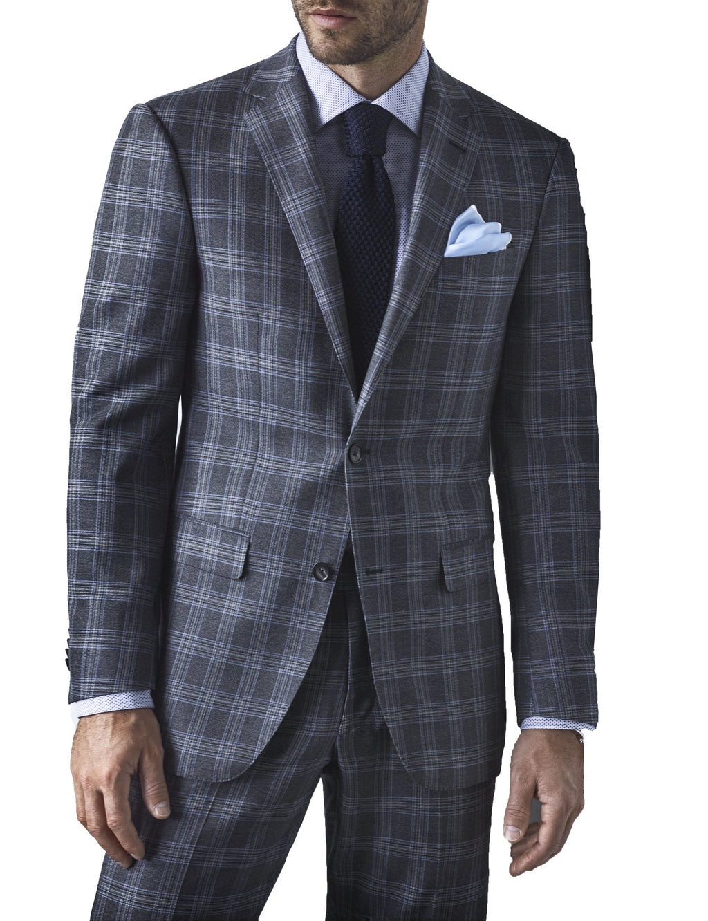 BB1621 - VITALE BARBERIS GREY WITH BLUE CHECK SUIT