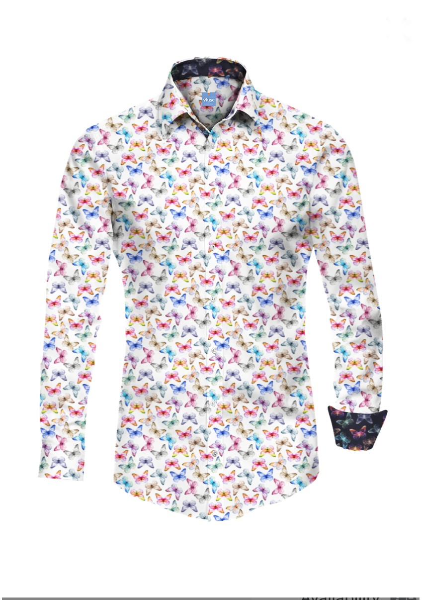 Float Like A Butterfly White Printed Bespoke Shirt
