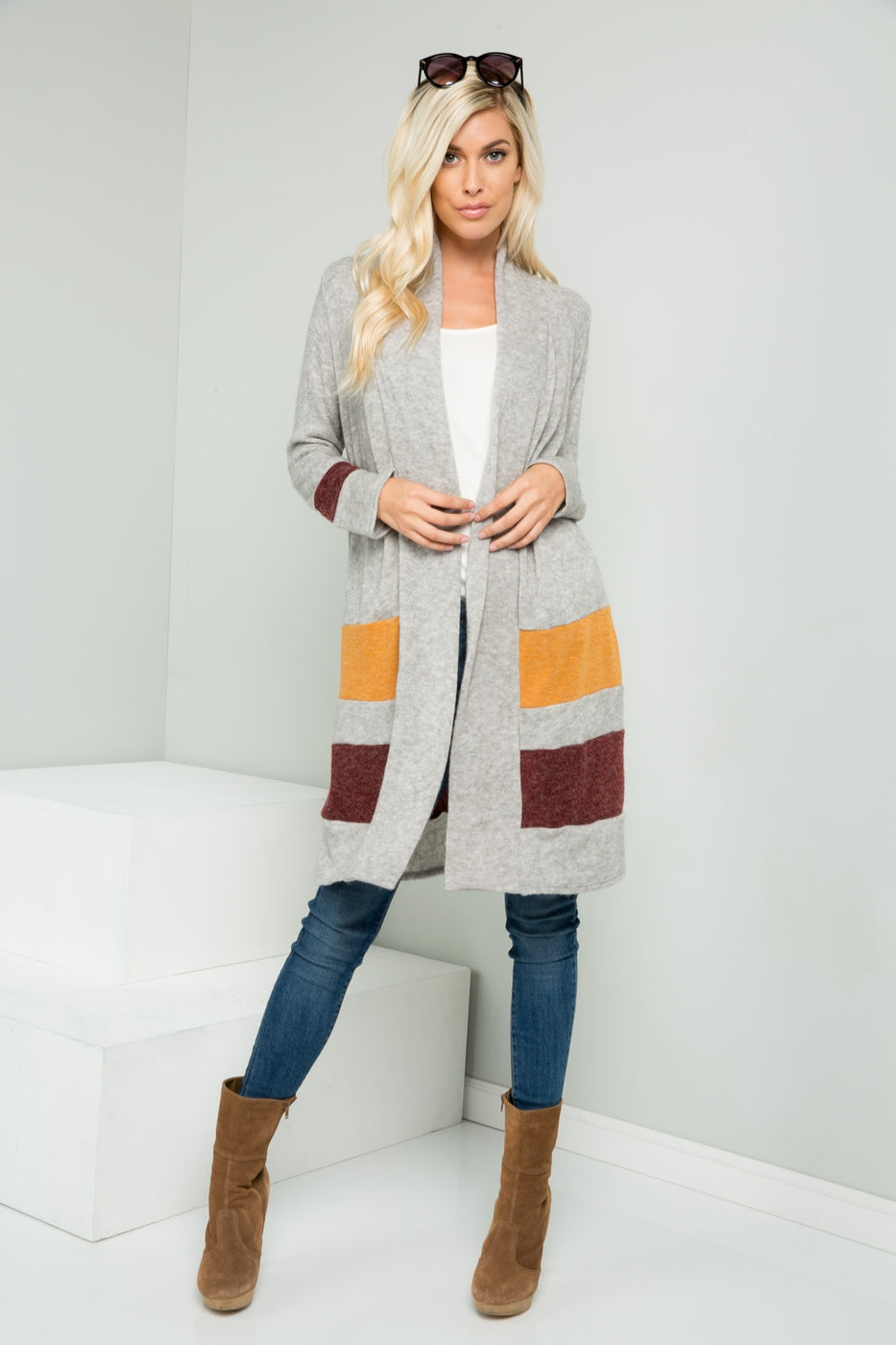 Color Block Shawl Neck Long Cardigan VLW102