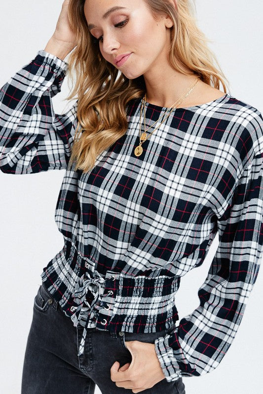 Plaid Design Corseted Top VLW108