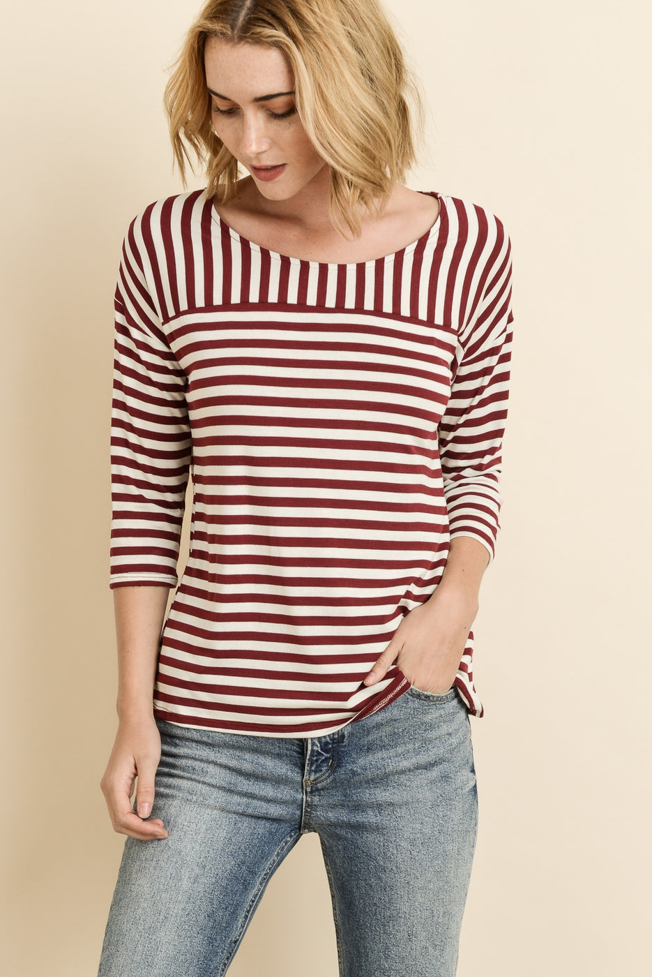 Striped 3/4 Sleeves Top VLW109
