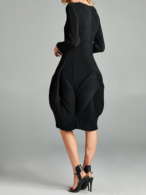 Pleated Black Blooming Look Dress VLW110