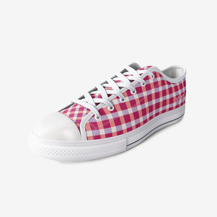 Check Mate Red Unisex Low Top Canvas Shoes