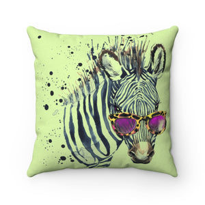 Elton Zebra Lime Faux Suede Square Pillow from Vluxe by Lucky Nahum