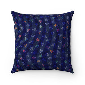 Flower Bed Faux Suede Square Pillow