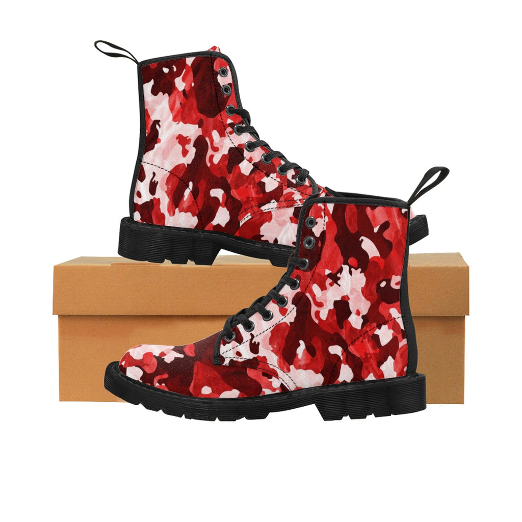 Camo Red Men's Canvas Boots