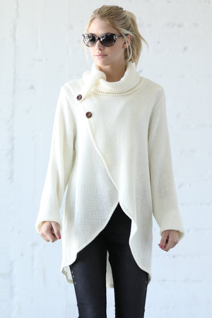 TURTLENECK SPLIT FRONT SWEATER VLW101