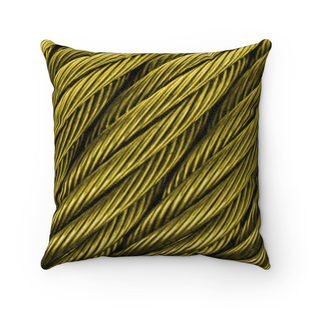 Cable Gold Faux Suede Square Pillow