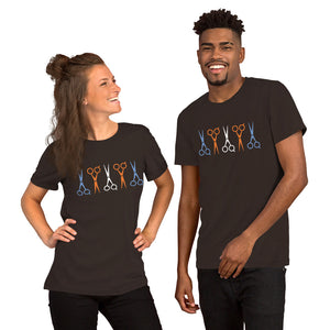 Multi Colored Scissors Short-Sleeve Unisex crew