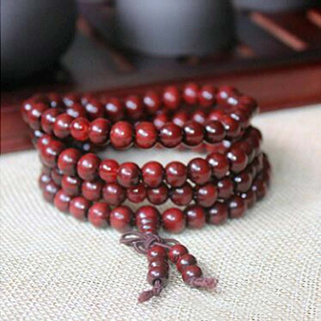 Natural Sandalwood Buddhist Buddha Meditation 108 beads Wood Prayer Bead Mala Bracelet Unisex  6mm - Satori Art Decor