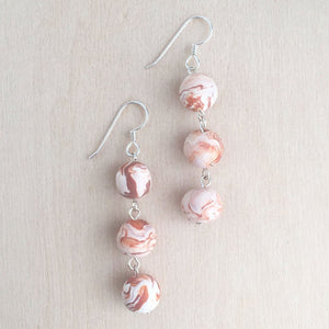 Celebrated Lady Sterling Silver Orange Clay Bauble Drop Earrings