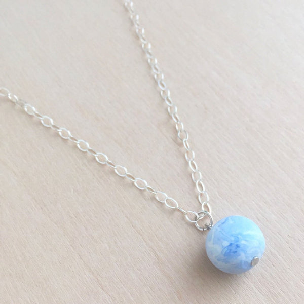 Celebrated Lady Sterling Silver Blue Bauble Necklace