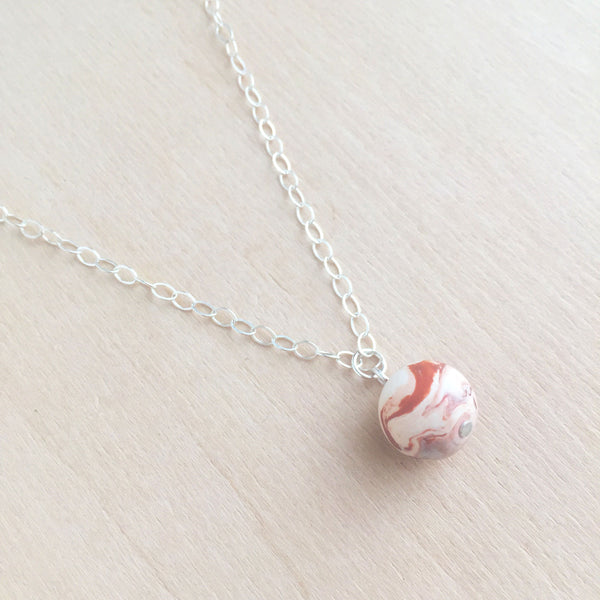 Celebrated Lady Sterling Silver Clay Orange Bauble Necklace