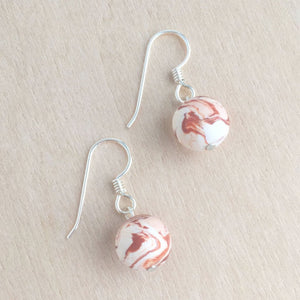 Celebrated Lady Sterling Silver Clay Orange Bauble Earrings