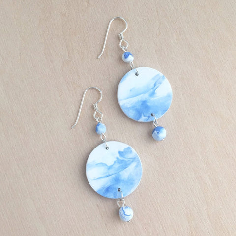 Celebrated Lady Sterling Silver Clay Blue Charm Earrings