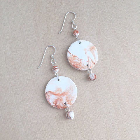 Celebrated Lady Sterling Silver Orange Clay Charm Earrings
