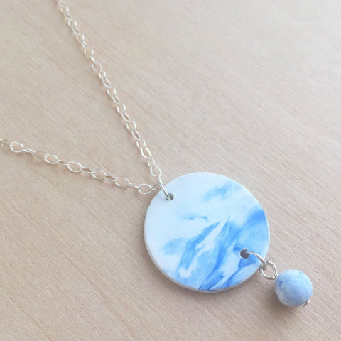 Celebrated Lady Sterling Silver Blue Clay Charm Necklace