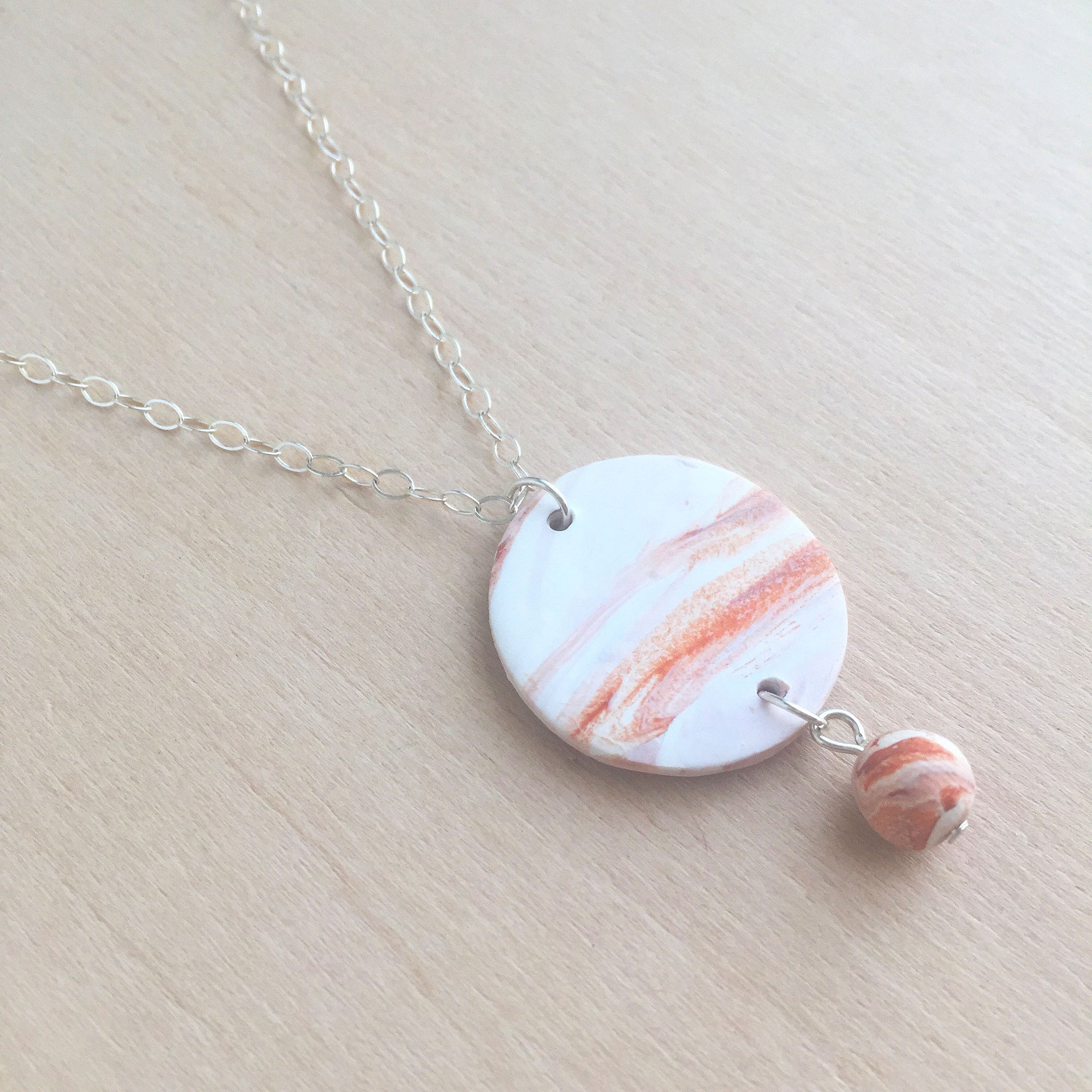 Celebrated Lady Sterling Silver Clay Orange Charm Necklace