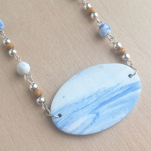 Celebrated Lady Sterling Silver Clay Blue Landscape Necklace
