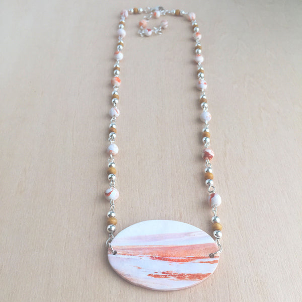 Celebrated Lady Sterling Silver Clay Orange Landscape Necklace