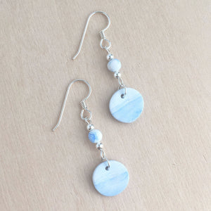 Celebrated Lady Sterling Silver Clay Blue Landscape Earrings
