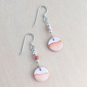 Celebrated Lady Sterling Silver Clay Orange Landscape Earrings