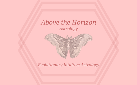 """A black and white moth against a pink background with text reading, """"Above the Horizon Astrology - Evolutionary Intuitive Astrology"""""""