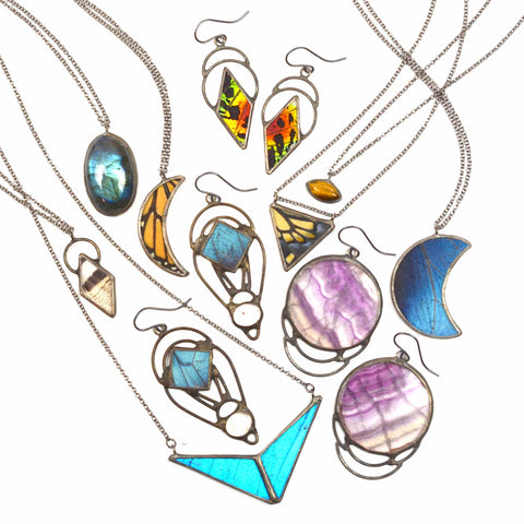 unique and colorful jewelry displayed on a white background.