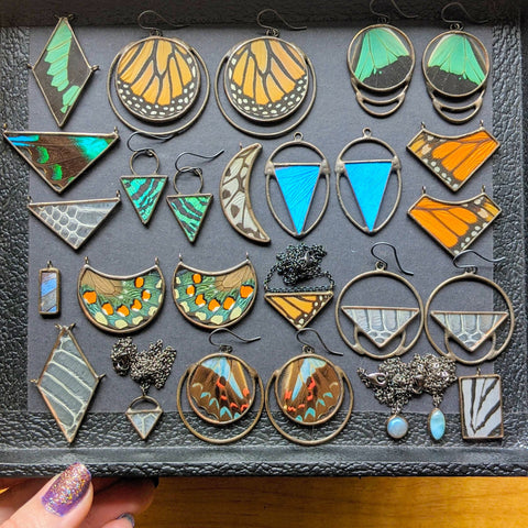 colorful, geometric butterfly wing, snakeskin shed, feather, and gemstone jewelry neatly arranged in a black jewelry tray.