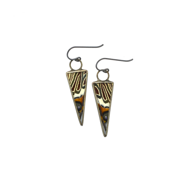 White Barred Emperor Isosceles Earrings {One of a Kind}