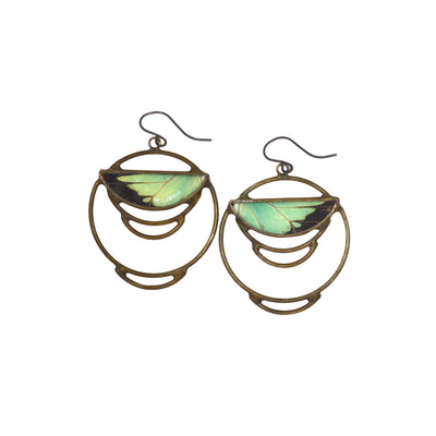 Intricate metalwork earrings of a circular nature embrace an encased mint green and black butterfly wing photographed against a white background.