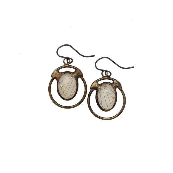 Cicada + Quartz Hemispheres Earrings {One of a Kind}