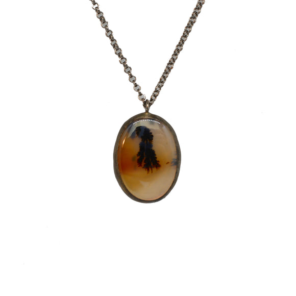 Dendritic Agate + Snakeskin Necklace {One of a Kind}