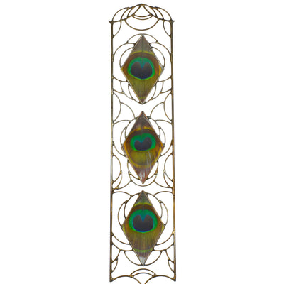 A wall hanging created with peacock feathers encased in diamond shaped glass embraced within intricate metalwork in the spirit of Art Nouveau.