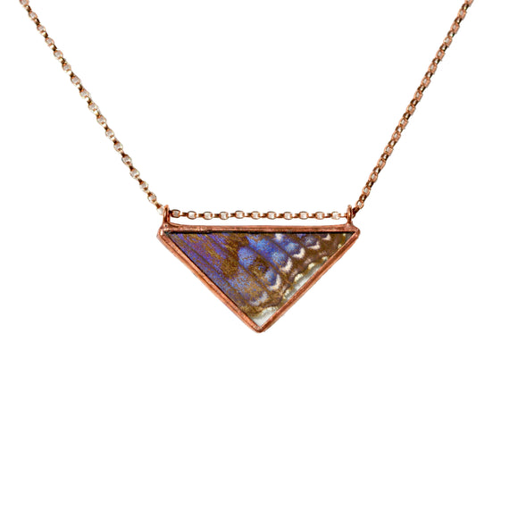 Periwinkle Triangle Rose Gold Necklace