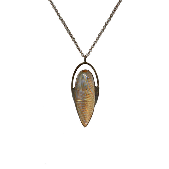 Rutilated Quartz + Macaw Feather Necklace {One of a Kind}