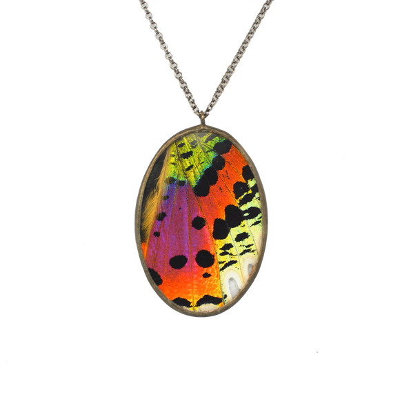 Rainbow Sunset Moth Oval Cameo Necklace {One of a Kind}