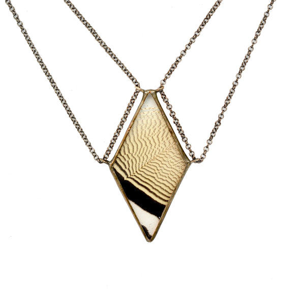 {One of a Kind} Wood Duck Feather Tethered Diamond Necklace - Wholesale