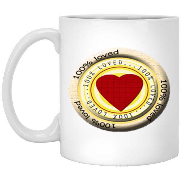 100% LOVED 11 oz. White Mug