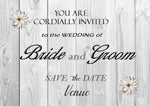 Grey Wood Printed Invitations