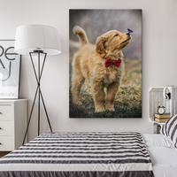 Puppy with Butterfly Canvas