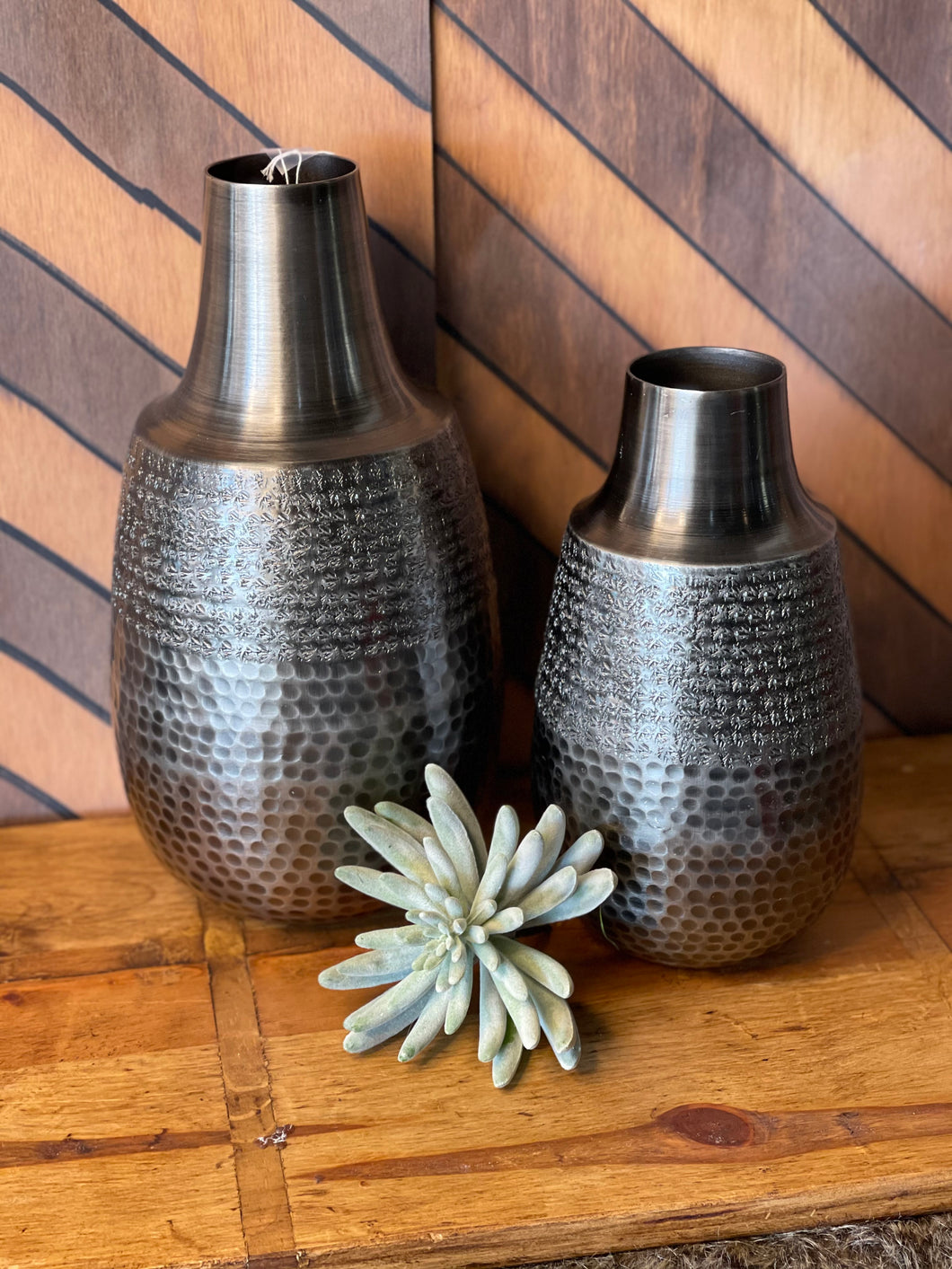 Hammered Vases Set of Two