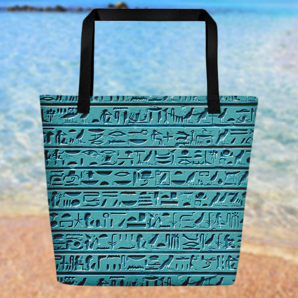 Egyptian Faience Hieroglyphics Beach Bag