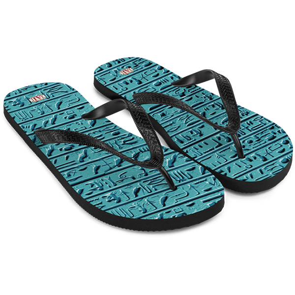 Egyptian Faience Hieroglyphics Flip-Flops