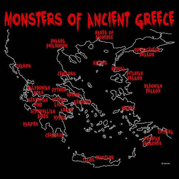 Monsters of Ancient Greece - Black (Women's)